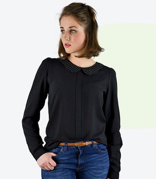 fr ulein stachelbeere schwarze lang rmlige bluse mit knopfleiste und bubikragen 777781173. Black Bedroom Furniture Sets. Home Design Ideas