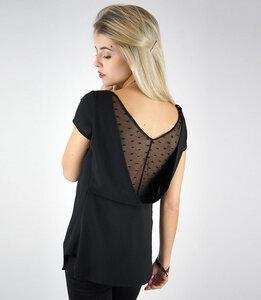 Schwarzes Shirt aus Crépe mit weitem Rückenausschnitt 777781108 - Fräulein Stachelbeere