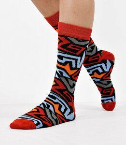 Bunte Unisex-Socken mit geometrischen Elementen rot 777781511 - Foot Knox