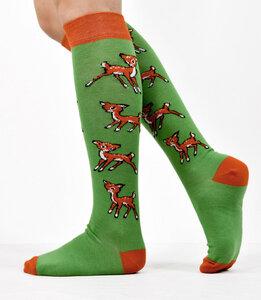 Kniestrümpfe mit Bambi-Muster grün-orange 777781481 - Foot Knox