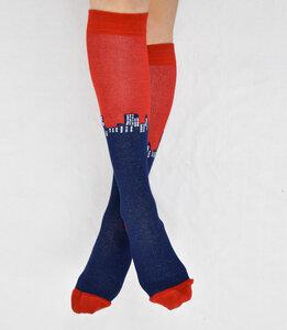 Kniestrümpfe mit Skyline-Muster rot-blau 777781487 - Foot Knox