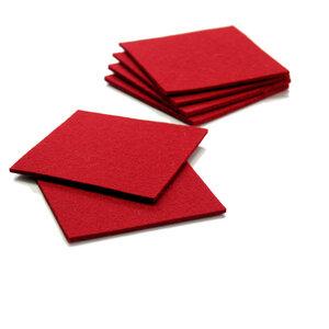 Filz Untersetzer 9x9 cm, rot 3 mm, 6 Stück  - tuchmacherin - handgewebtes design + filz