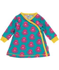 Baby-Kleid 'Octopus' hellblau mit Tintenfisch-Print - maxomorra