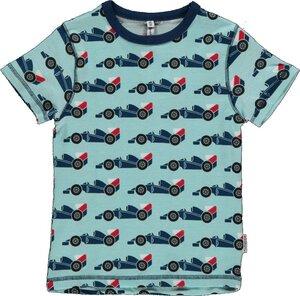 T-Shirt Kurzarm 'Racing Car' hellblau mit Printmotiv Jungen - maxomorra