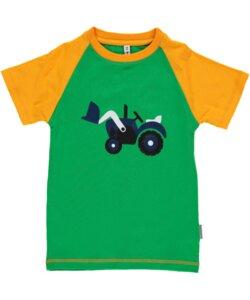 T-Shirt Kurzarm 'Trecker' grün mit Printmotiv Mädchen und Jungen - maxomorra