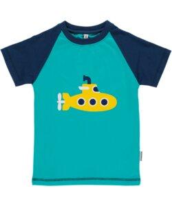 T-Shirt Kurzarm 'Submarine' blau U-Boot-Printmotiv Mädchen und Jungen - maxomorra