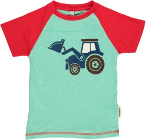 T-Shirt Kurzarm 'Trecker' hellblau mit Printmotiv Jungen - maxomorra