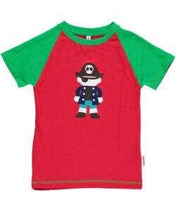T-Shirt Kurzarm 'Pirat' rot mit Printmotiv Jungen und Mädchen - maxomorra