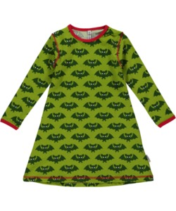 Mädchen-Kleid 'Batwoman' grün mit Fledermaus-Printmotiv - maxomorra
