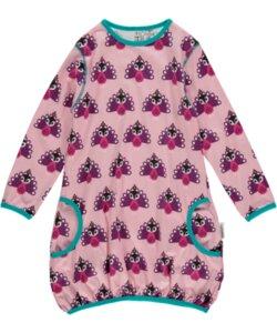 Ballon-Kleid 'Peacock' rosa-pink-lila mit Pfauen-Motiv - maxomorra