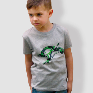 Kinder T-Shirt, 'Chamäleon', Heather Grey - little kiwi