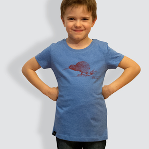 Kinder T-Shirt, 'Kiwi', Mid Heather Blue - little kiwi