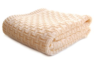 Babydecke Strickdecke Erstlingsdecke Bio Baumwolle Karomotiv 100x90 cm - RELAXFAIR