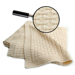 Babydecke Strickdecke Erstlingsdecke Baumwolle Karomotiv 100x90 cm - RELAXFAIR