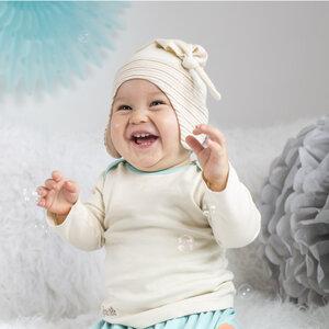 Baby Mütze mit Knoten und Ohrenschutz Unbefärbt Feinste Bio-Baumwolle - Mama Ocllo
