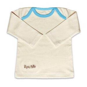 Baby Shirt Langarm Schlupfkragen Bio-Qualität Eisblau - Mama Ocllo