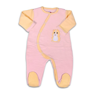 Warmer Pima Bio Baby Schlafanzug, rosa/orange - Mama Ocllo
