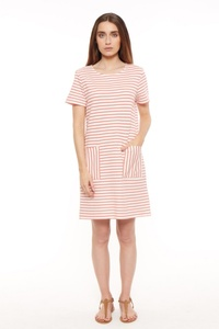 Aida Stripe Dress Coral - People Tree