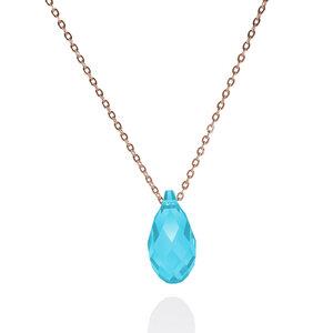 "Rose-vergoldete 925er Sterling Silber Kristall-Kette ""Pine Aquamarine"" - JuliaPilot"