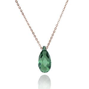 """Rose-vergoldete 925er Sterling Silber Kristall-Kette """"Pine Erinite"""" - JuliaPilot"""