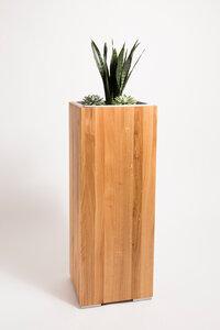 Pflanzsäule 1 Meter Eiche Massivholz, Seitenmaß 34,5 x 37 cm - GreenHaus