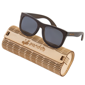 pandoo ♻ Dunkle Bambus Sonnenbrille Unisex -polarisiert&UV400- Schwarz - pandoo
