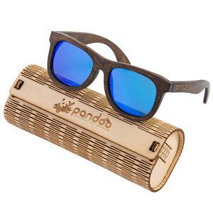 pandoo  Dunkle Bambus Sonnenbrille Unisex - polarisiert&UV400 - Blau - pandoo