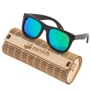 pandoo ♻ Dunkle Bambus Sonnenbrille Unisex -polarisiert&UV400- Türkis - pandoo