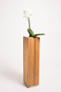 Pflanzsäule 50 cm hoch Eiche Massivholz,Seitenmaß ca. 17x17 cm - GreenHaus