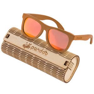 pandoo ♻ Braune Bambus Sonnenbrille Unisex -polarisiert&UV400- Orange - pandoo