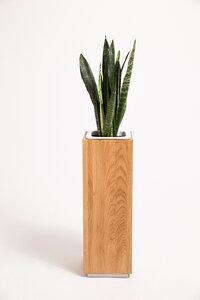 Pflanzsäule 70 cm hoch Eiche Vollholz, Seitenmaß ca. 17x17 cm - GreenHaus