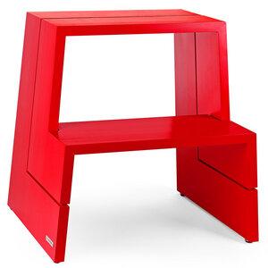 Design Holz-Tritthocker aus massivem Buchenholz, rot - NATUREHOME