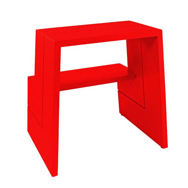 Design Holz-Tritthocker aus massivem Buchenholz, rot von ...
