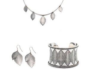 'Sanctuary' Schmuck Set -  Ohrringe, Halskette und Armreif aus Messing (silber) - Kalakosh