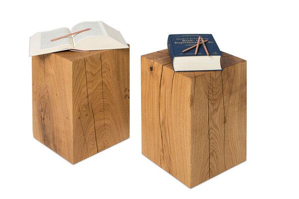 Greenhaus greenhaus hocker 30x30cm eiche massivholz for Holzklotz beistelltisch