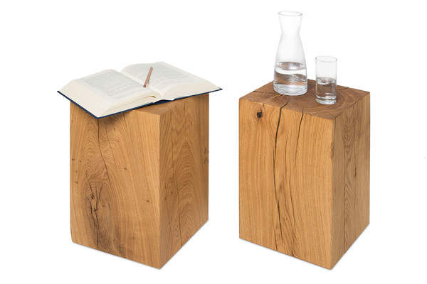 greenhaus greenhaus hocker 30x30cm eiche massivholz holzklotz holzblock avocadostore. Black Bedroom Furniture Sets. Home Design Ideas