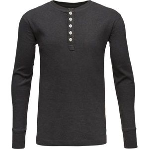 Rib Knit Henley - GOTS - Dark Grey Melange - KnowledgeCotton Apparel