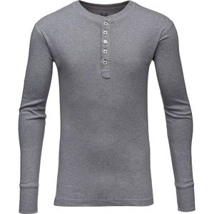 Langarmshirt - Rib Knit Henley -Grey Melange - KnowledgeCotton Apparel