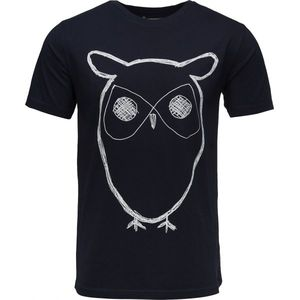 Single Jersey With Owl Print Total Eclipse - KnowledgeCotton Apparel