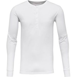 76fdb85f499305 Langarmshirt - Henley - Bright White - KnowledgeCotton Apparel