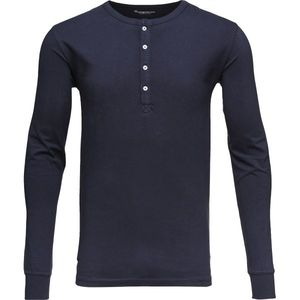 Langarmshirt - Henley - Total Eclipse - KnowledgeCotton Apparel