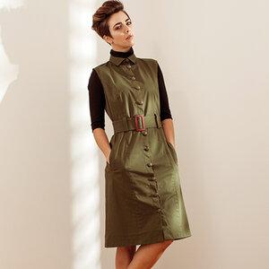 Sommerkleid grün mit Knöpfen knielang - SinWeaver alternative fashion