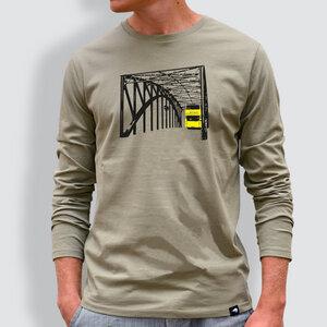 Herren Longsleeve, 'Könneritz-Brücke', Light Khaki - little kiwi