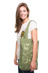 Kipepeo Twill-Bag 'Wanyama' oliv - Kipepeo-Clothing