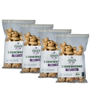 Bio-Fairtrade-Cashewkerne: Garlic & Pepper (4 x 75g) - Cashew for You