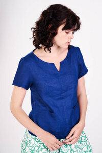 Sara Navy Linen Top  - bibico