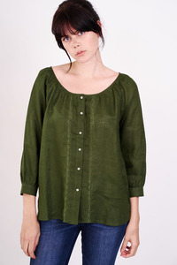Linen Scoop Neck Blouse  - bibico