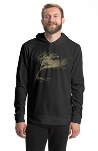 "Bio-Jersey-Kapuzensweater Unisex ""Windy Tree""  - Peaces.bio - Neutral® - handbedruckt"