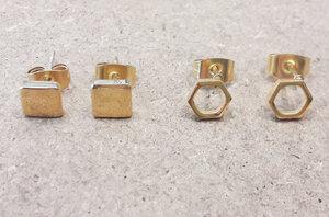 Zarter Ohrstecker Quadrat - Gold - LUXAA