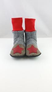 Gr. 32/33 Schuhe aus Wolle mit Ledersohle und hohem Bündchen  - Süßstoff